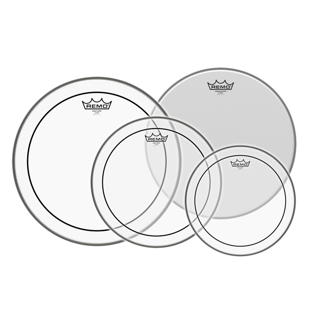 "REMO Pinstripe 드럼 헤드 할인 패키지 10.12.14.16"" (Pinstripe+Ambassador) /PP-1870-PS"